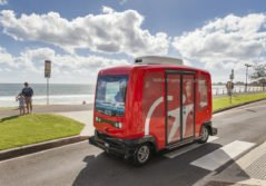 Transdev autonomous vehicle beachside in Australia