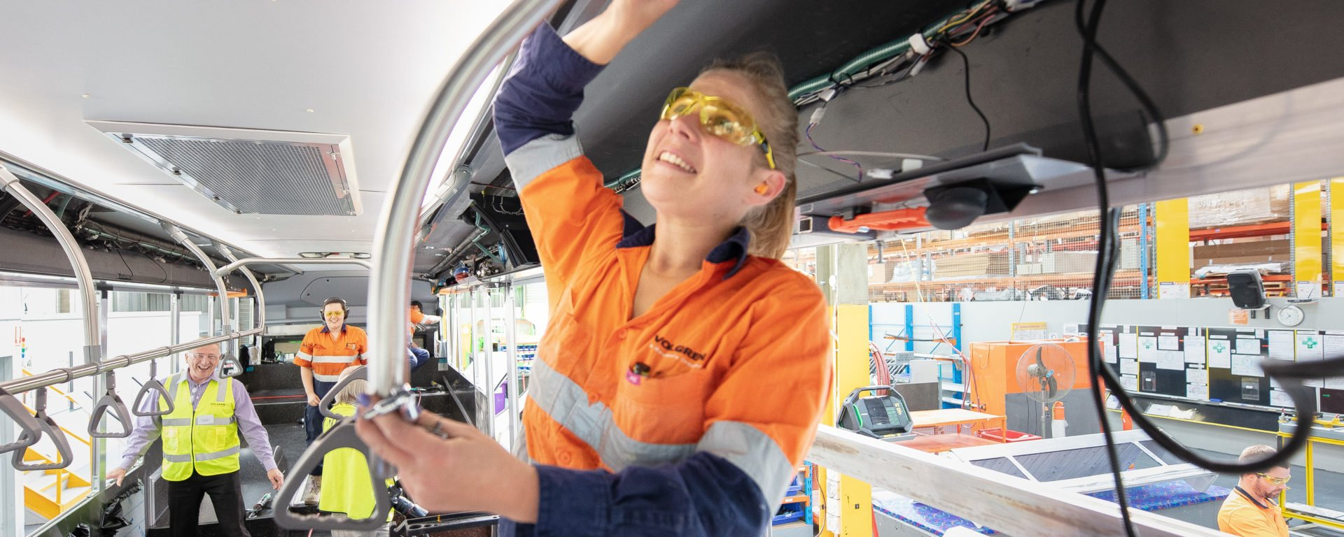 Transdev and Volgren electric bus in manufacture.